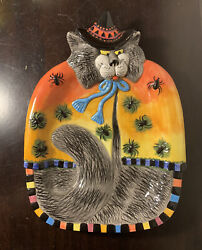 Fitz And Floyd Kitty Witch Halloween Platter With Spiders