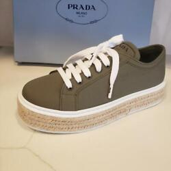 Prada Canvas Fabric Lace Up Platform Flat Espadrille Shoes Green 680