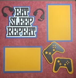 Sewn Premade Scrapbook Page 12x12 Eat Sleep Repeat Video Game Controller 3d-jenn