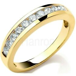 Certificated Diamond Eternity Ring Channel Set Band 18k Yellow Gold Size J - Q