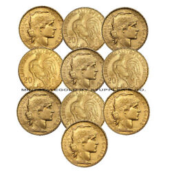 Lot Of 10 French 20 Franc Roosters European Xf-au Gold Coins Pre-1933 20fr