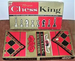 Vintage Transogram Boxed Checkers - Backgammon And Chess Games Circa Early 1960s