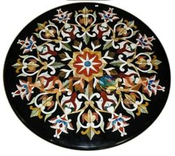 3and039x3and039 Marble Dining Table Top Precious Floral Marquetry Inlay Garden Decors B585