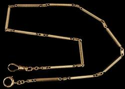 Antique 14kt Yellow Gold Pocket Watch Chain Fob Bar And Link Style 11.91 Grams