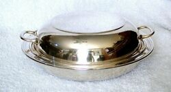 8 1/4 Inch Stwerling Manchester Cross Crown Hallmark Covered Chafing Dish Bowl