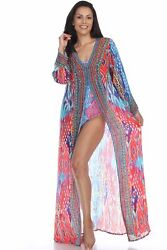 Kimonos For Women With Bohemian Print Viscose Silk Beach Swimsuit Cover Up