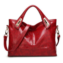 Women Oil Wax Leather Satchel Handbag Leather Messenger Shoulder Bag Tote Purse $18.99
