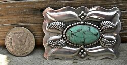 Vin Navajo Signed Sterling And Seafoam Color Turquoise Repousse Large Belt Buckle