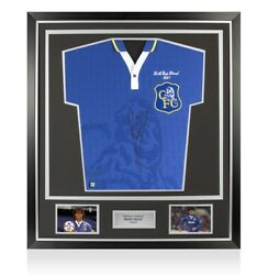 Framed Ruud Gullit Signed Retro Chelsea Home 1997 Shirt - Fa Cup Final Edition P