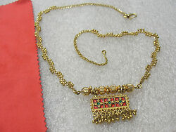 Indian 22k Solid Yellow Gold Necklace 19gr Beautiful Red And Green Enamel Pendant