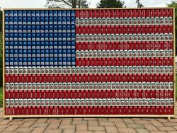 Handmade Bud Light Budweiser And Miller Lite Beer Can American Flag With Frame