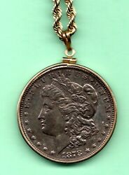 1878 First Morgan Silver Dollar On A 22 Inch 14k Gold Chain 36.7 Grams Weight