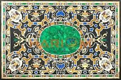4and039x3and039 Malachite Pietra Dura Inlay Marble Dining Table Top Restaurant Decors B610