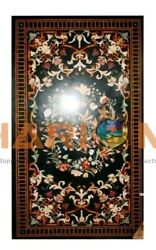 5and039x3and039 Marble Dining Table Top Multi Stone Floral And Bird Inlay Hallway Decor B640