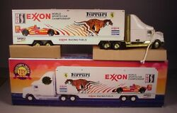 1995 Exxon Semi Truck And Car Carrier Battery Operated Toy Mib Vintage Ferrari Nos