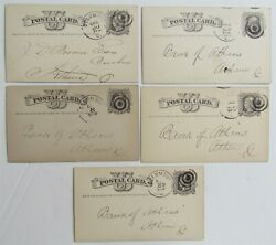 1876 Lot Of 5 Commercial Bank Of Columbus Ohio Antique Statement Cards Postcards
