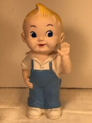 """Vintage Rubber Squeeky Toy Waving Boy Marked Star 6.75"""""""