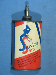 Vintage Service Sam 3 Oz Oiler Tin Can Lead Top W/cap 1920and039s Made In Usa