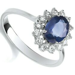Sapphire And Diamond Engagement Ring 18k White Gold Certificate Large Size R - Z