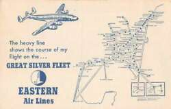 Eastern Air Lines Great Silver Fleet Airplane Route Map Ad Vintage Pc Aa18314