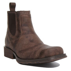 Ariat Mid Town Ramblr Mens Leather Ankle Boots In Stone Uk Size 6 - 12
