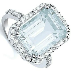 Huge Aquamarine And Diamond Ring 18 Carat White Gold Certificate Large Size R-z