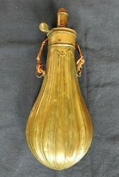 Civil War Era American Flask And Cap Co Brass Powder Flask Fully Fluted Case Nice