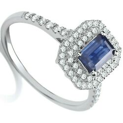 Sapphire And Diamond Halo Engagement Ring 18k White Gold Certificate Size J - Q
