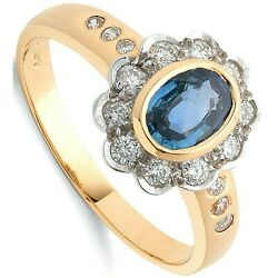 Sapphire And Diamond Engagement Ring 18k Yellow Gold Certificate Large Size R-z