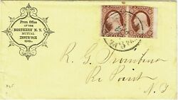 1850and039s Plattsburgh Ny 3 Paid Cancel On Pair 3c Type I Perf Shift 415+