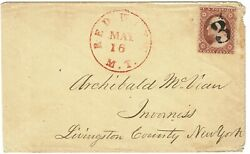 1858 Red Wing Mn Territorial Canceler May 16 Cancel 3c Type Iv Scott 26a