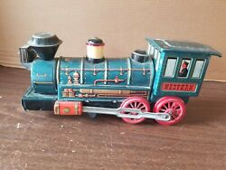 Vintage Western Express Modern Toys Battery Operated Tin Litho Toy Train Green