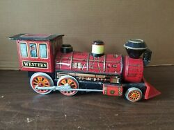 Vintage Western Express Modern Toys Battery Operated Tin Litho Toy Train Red