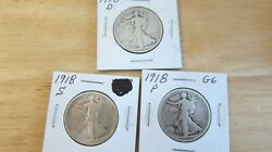 1918 D S P Liberty Walking Half Dollars All In Good Condition
