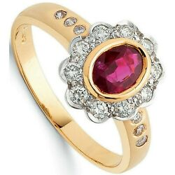 Ruby And Diamond Engagement Ring 18k Yellow Gold Certificate Large Size R - Z