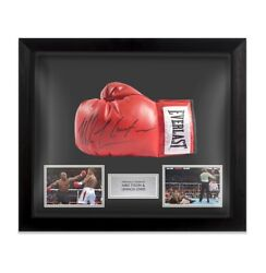 Framed Mike Tyson And Lennox Lewis Signed Boxing Glove Autograph