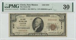 1929 10 National Bank Clovis New Mexico Pmg Vf30 Fr1801 Ch8767
