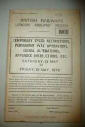 British Rail Br Lm Region Temporary Speed Restrictions For Pw Opand039s 1978.23
