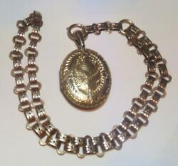 Antique Victorian 9 Carat Chain Link Necklace With Locket Total Weight 26 Grams