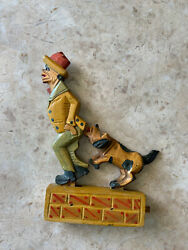 Antique Wooden Mechanical Toy- Dog Biting Manand039s Rear End/tailcoat