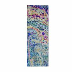 2and03910x8and0392 Colorful Sari Silk With Textured The Lava Design Runner Rug R59239