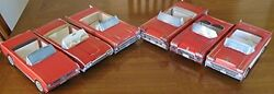 6 Assorted Red Cardboard Classic Cars Kids Food Box Tray Party Favor Holiday