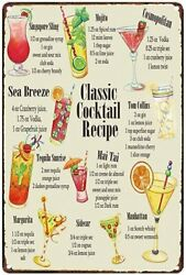 Classic Cocktail Recipe Guide Bartender Pub Man Cave Metal Tin Sign 8 X 12