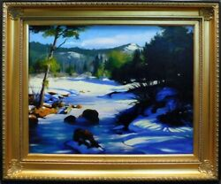 William Martin Original Oil Paintings On Canvas Framed Hand Signed Snow View