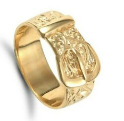 Menand039s Buckle Ring Heavy Solid Yellow Gold Hallmarked British Made Gents Band