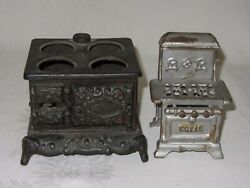2 Vintage Cast Iron Toy Stove Miniature Black Queen And Silver Royal