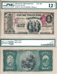 1875 1 The Cape Ann National Bank Of Gloucester. Fr.383 Ch899. Pmg Fine12