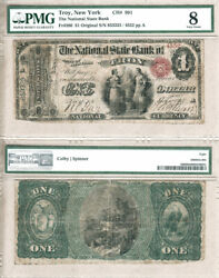 Original 1 The National State Bank Of Troy Ny. Fr.380 Ch991. Pmg Vg8