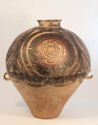 Neolithic Chinese Pottery, Majiayao Culture Urn With Circular Pattern