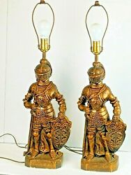 Vintage Chalkware Plaster Medieval Knight Gold/black 24 Table Lamp Lot Of 2